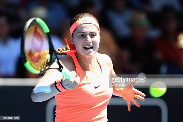 Jelena Ostapenko of Latvia plays a return back to Madison Brengle of the USA during day four of the ASB Classic on January 5, 2017 in Auckland, New...