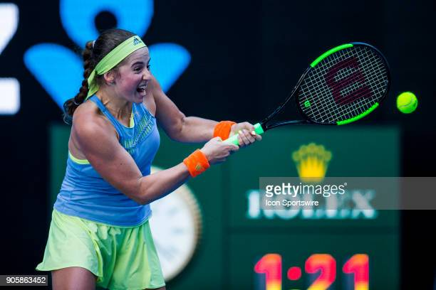 Jelena Ostapenko of Latvia plays a shot in her Second Round match during the 2018 Australian Open on January 17 at Melbourne Park Tennis Centre in...