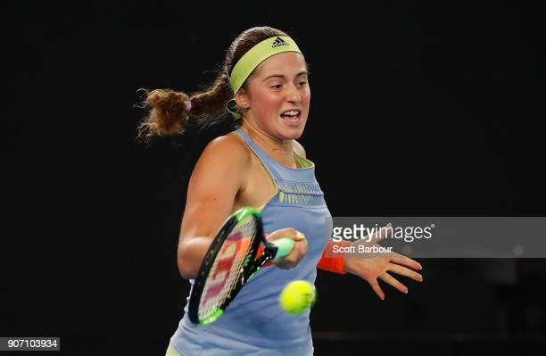 Jelena Ostapenko of Latvia plays a shot in her third round match against Anett Kontaveit Estonia on day five of the 2018 Australian Open at Melbourne...
