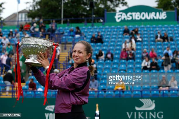 Jelena Ostapenko of Latvia poses for a photo with the trophy after winning the women's singles final against Anett Kontaveit of Estonia during day 8...