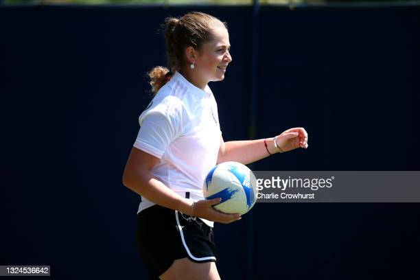 Jelena Ostapenko of Latvia practices her football skills during day 2 of the Viking International Eastbourne at Devonshire Park on June 20, 2021 in...
