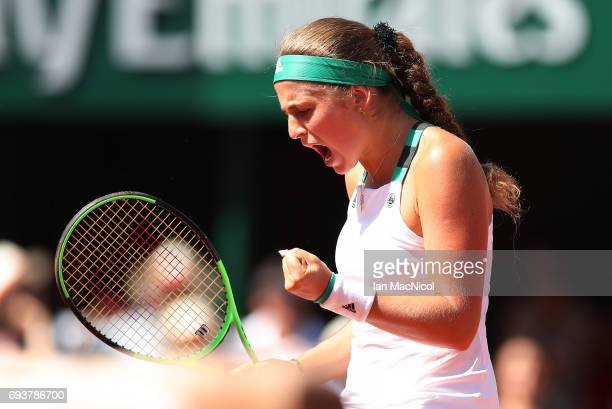 Jelena Ostapenko of Latvia reacts during her match with Timea Bacsinszky of Switzerland during day twelve at Roland Garros on June 8 2017 in Paris...