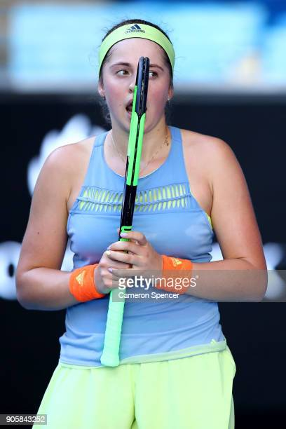 Jelena Ostapenko of Latvia reacts in her second round match against YingYing Duan of China on day three of the 2018 Australian Open at Melbourne Park...