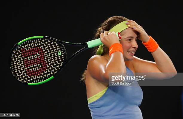 Jelena Ostapenko of Latvia reacts in her third round match against Anett Kontaveit Estonia on day five of the 2018 Australian Open at Melbourne Park...