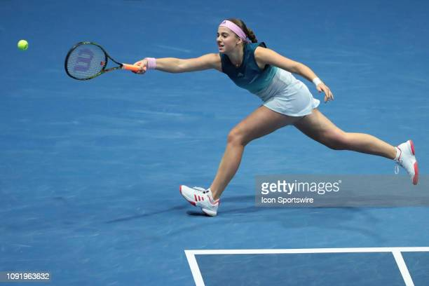 Jelena Ostapenko of Latvia returns the ball during the St. Petersburg Ladies Trophy tennis tournament match on January 31 at Sibur Arena in St....