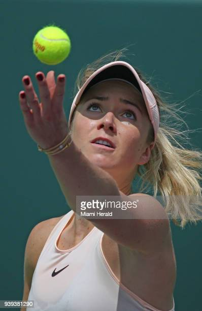 Jelena Ostapenko of Latvia serves against Elina Svitolina of Ukraine during their match at Miami Open tennis tournament on Wednesday March 28 2018 at...