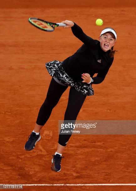 Jelena Ostapenko of Latvia serves during her Women's Singles second round match against Karolina Pliskova of Czech Republic on day five of the 2020...