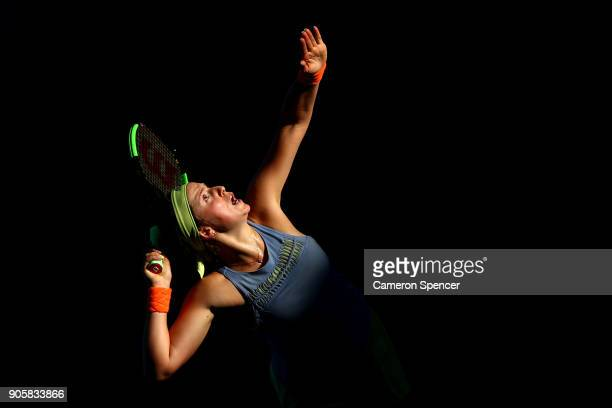 Jelena Ostapenko of Latvia serves in her second round match against YingYing Duan of China on day three of the 2018 Australian Open at Melbourne Park...