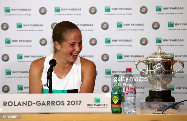 Jelena Ostapenko of Latvia speaks in a press conference following victory in the ladies singles final match against Simona Halep of Romania on day...