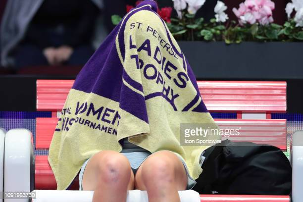 Jelena Ostapenko of Latvia take a break during the St. Petersburg Ladies Trophy tennis tournament match on January 31 at Sibur Arena in St....