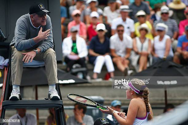Jelena Ostapenko of Latviaspeaks with the umpire during her singles match against Naomi Broady of Great Britain during day three of the 2016 ASB...