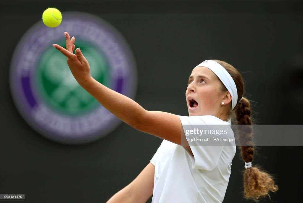 Jelena Ostapenko serves on day eight of the Wimbledon Championships at the All England Lawn Tennis and Croquet Club, Wimbledon.