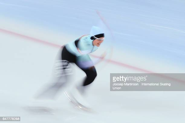 Jelena Peeters of Belgium competes in the Ladies 500m during World Allround Speed Skating Championships at Viking Skipet Hamar Olympic Hall on March...