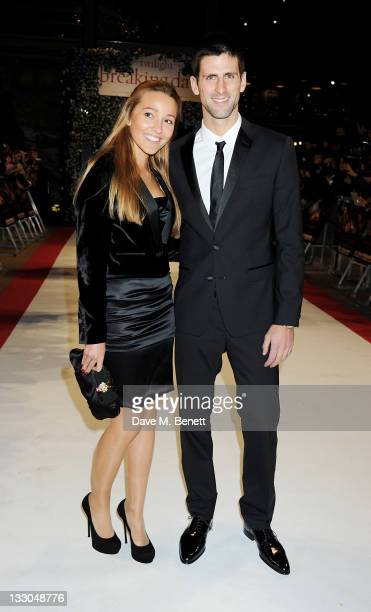 Jelena Ristic and Novak Djokovic attend the UK Premiere of 'The Twilight Saga: Breaking Dawn Part 1' at Westfield Stratford City on November 16, 2011...