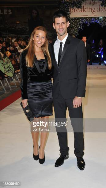 Jelena Ristic and Novak Djokovic attends 'The Twilight Saga Breaking Dawn Part 1' UK Premiere at Westfield Stratford City on November 16 2011 in...