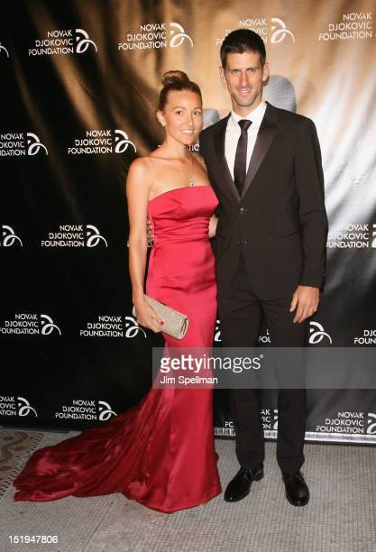 Jelena Ristic and Tennis player Novak Djokovic, founder and honorary chair attends The Novak Djokovic Foundation's inaugural dinner at Capitale on...