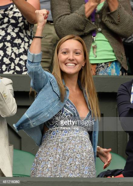 Jelena Ristic attends the Novak Djokovic v Radek Stepanek match on centre court during day three of the Wimbledon Championships at Wimbledon on June...
