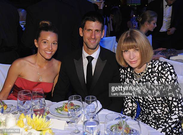 Jelena Ristic Novak Djokovic and Anna Wintour attend The Novak Djokovic Foundation's inaugural dinner at Capitale on September 12 2012 in New York...