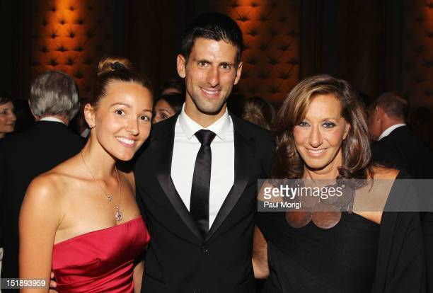 Jelena Ristic, tennis player Novak Djokovic, and fashion designer Donna Karan attend The Novak Djokovic Foundation's inaugural dinner at Capitale on...
