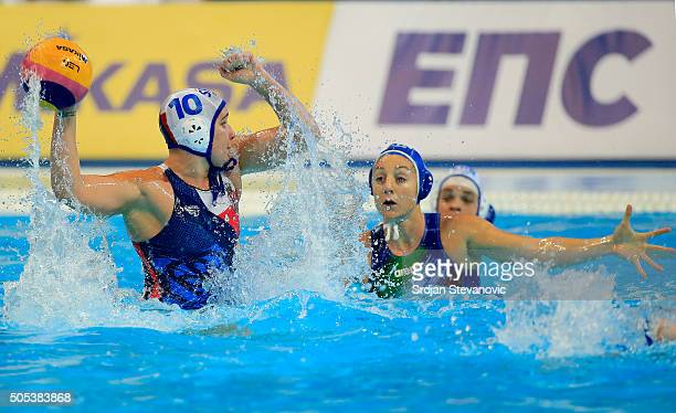Jelena Vukovic of Serbia in action against Chiara Tabani of Italy during the Women's Preliminary Group B match between Serbia and Italy at the...