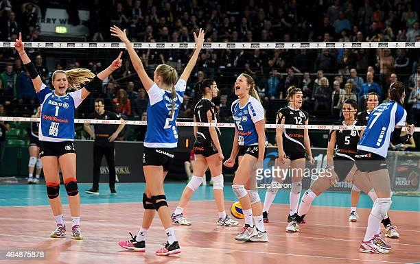 Jelena Wlk of Stuttgart celebrates with team mates after winning the German Women Cup Final between Ladies in Black Aachen and Allianz MTV Stuttgart...