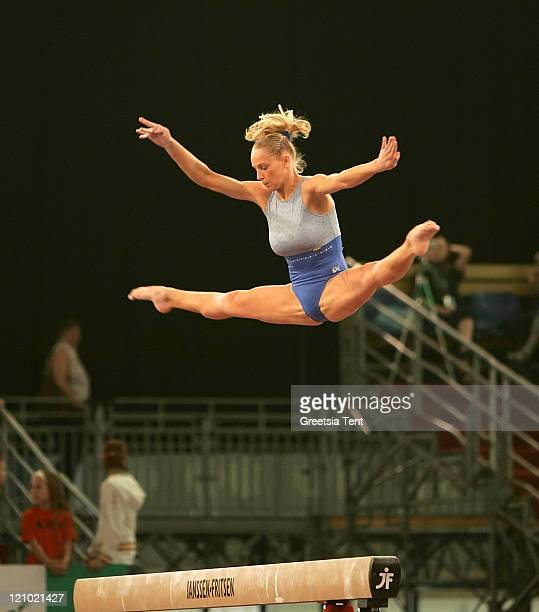 Jelena Zanevskaja on the beam during the 2007 European Women Artistic Gymnastics Championships in Amsterdam Netherlands on April 28 2007