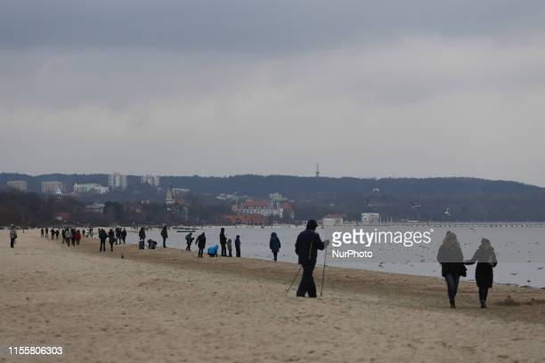 Jelitkowo Beach and Baltic Sea in Gdansk Poland on 12 February 2016