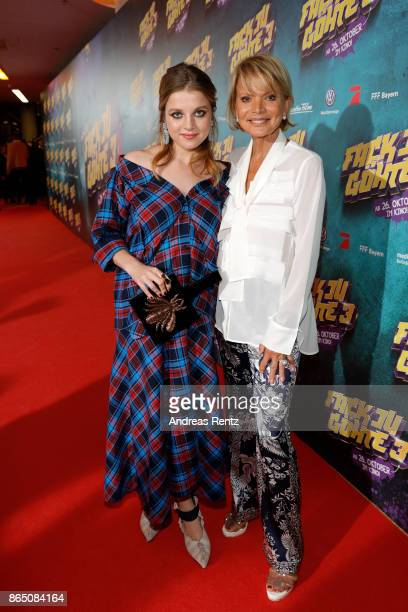 Jella Haase and Uschi Glas attend the 'Fack ju Goehte 3' premiere at Mathaeser Filmpalast on October 22, 2017 in Munich, Germany.