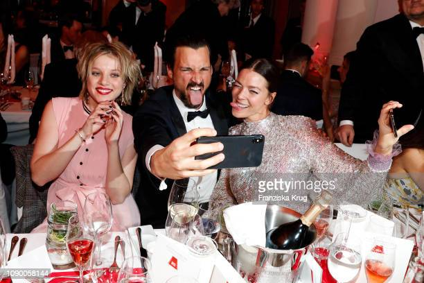 Jella Haase, Florian David Fitz and Jessica Schwarz during the 46th German Film Ball at Hotel Bayerischer Hof on January 26, 2019 in Munich, Germany.