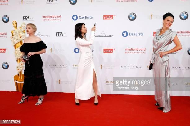 Jella Haase Gizem Emre and Katja Riemann attend the Lola German Film Award red carpet at Messe Berlin on April 27 2018 in Berlin Germany