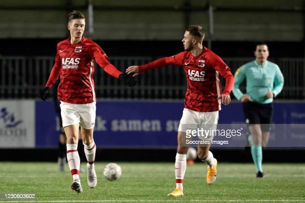Jelle Duin of AZ Alkmaar U23 celebrates 1-3 during the Dutch Keuken Kampioen Divisie match between AZ Alkmaar U23 v Almere City at the AFAS...