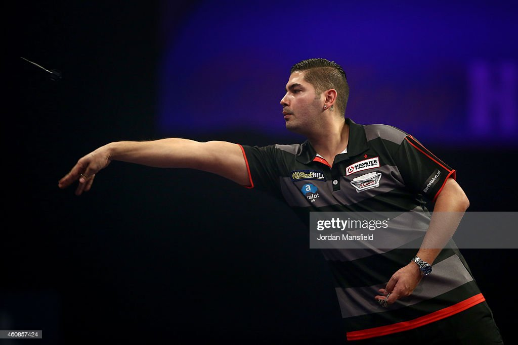 Jelle Klaasen of the Netherlands in action during his second round match against Gary Anderson of Scotland during Day Seven of the William Hill PDC World Darts Championships at Alexandra Palace on December 27, 2014 in London, England.