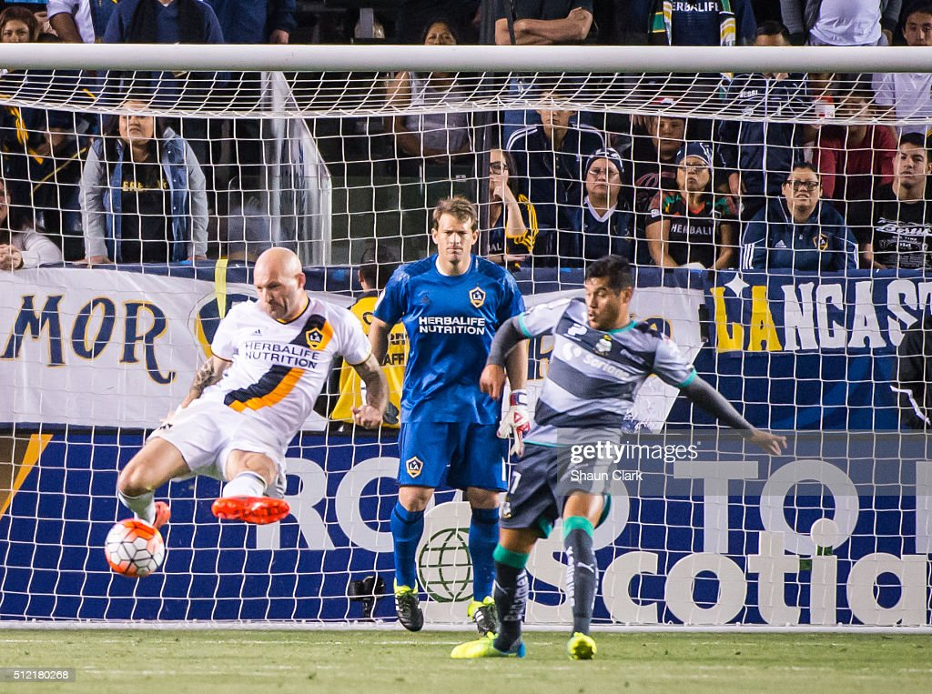 Jelle Van Damme #37 of Los Angeles Galaxy defends against Andres Renteria #7 of Santos Laguna during the CONCACAF Champions League match between Santos Laguna and Los Angeles Galaxy at the StubHub Center on February 24, 2016 in Carson, California. The final score was 0-0