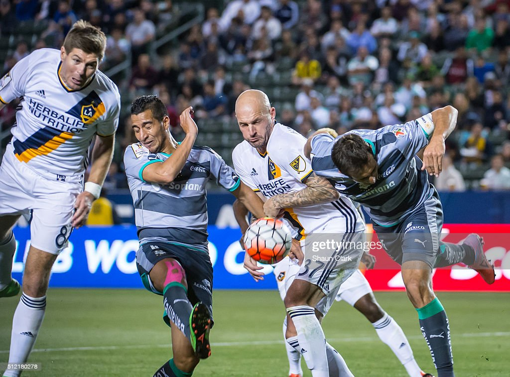 Jelle Van Damme #37 of Los Angeles Galaxy tries to get on the end of a cross in heavy traffic during the CONCACAF Champions League match between Santos Laguna and Los Angeles Galaxy at the StubHub Center on February 24, 2016 in Carson, California. The final score was 0-0
