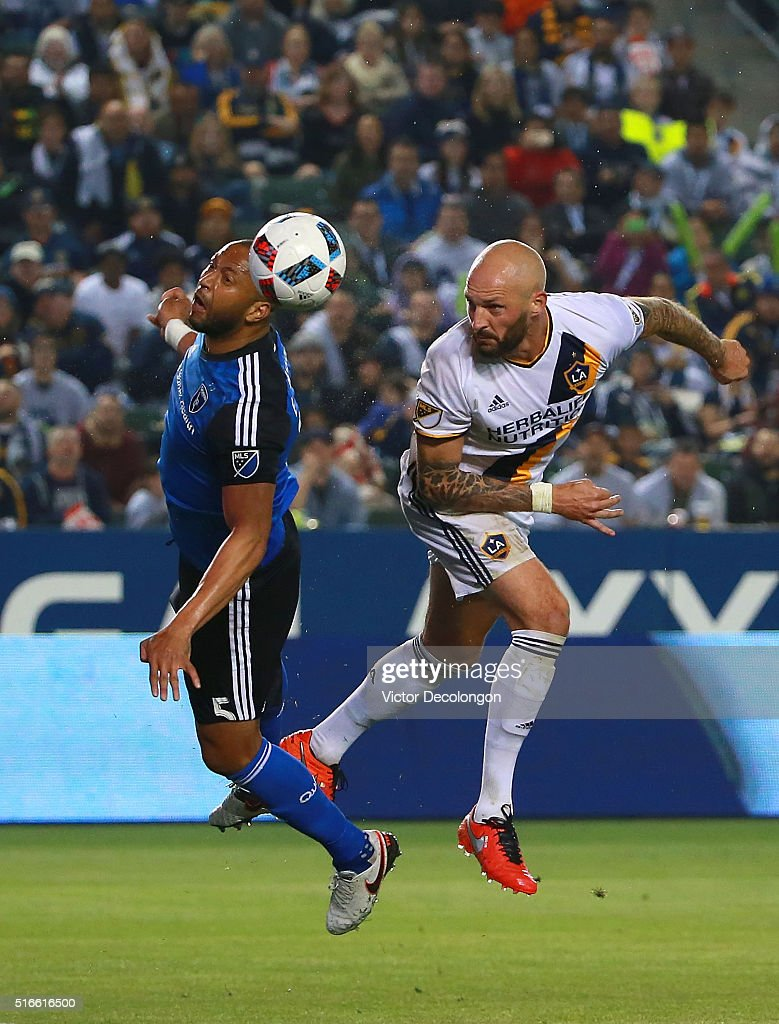 Jelle Van Damme #37 of the Los Angeles Galaxy and Victor Bernardez #5 of the San Jose Earthquakes vie for the ball during the second half of their MLS match at StubHub Center on March 19, 2016 in Carson, California. The Galaxy defeated the Earthquakes 3-1.