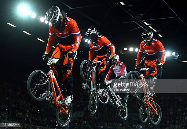 Jelle van Gorkom of the Netherlands clears a jump in the Mens Elite race during day five of the UCI BMX World Championships at Vector Arena on July...