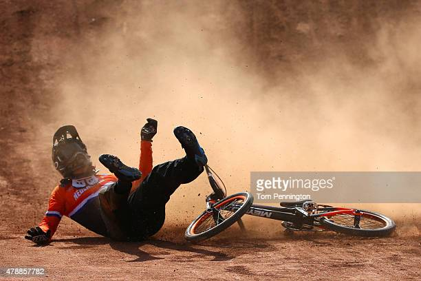 Jelle van Gorkom of the Netherlands crashes during the Men's Cycling BMX Final onday sixteen of the Baku 2015 European Games at the BMX Velopark on...