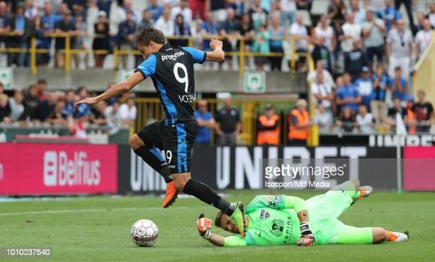 Jelle Vossen and Hendrik Van Crombrugge fight for the ball during the Jupiler Pro League match between Club Brugge and KAS Eupen at Jan Breydel...