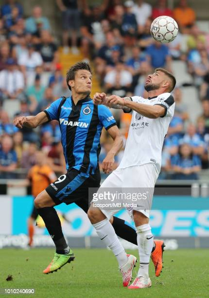 Jelle Vossen and Xavi Molina fight for the ball during the Jupiler Pro League match between Club Brugge and KAS Eupen at Jan Breydel Stadium on July...