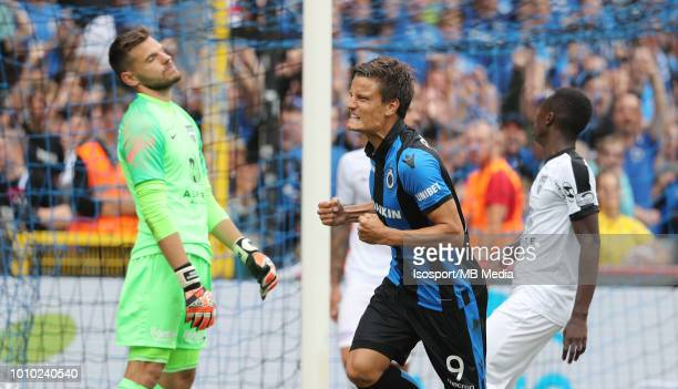 Jelle Vossen celebrates after scoring a goal during the Jupiler Pro League match between Club Brugge and KAS Eupen at Jan Breydel Stadium on July 29...