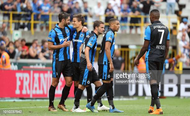 Jelle Vossen celebrates after scoring a penalty during the Jupiler Pro League match between Club Brugge and KAS Eupen at Jan Breydel Stadium on July...