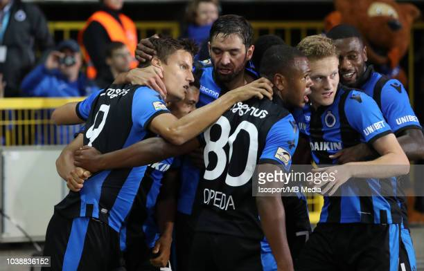 Jelle Vossen celebrates after scoring a penalty during the Jupiler Pro League match between Club Brugge and KSC Lokeren OV at Jan Breydel Stadium on...