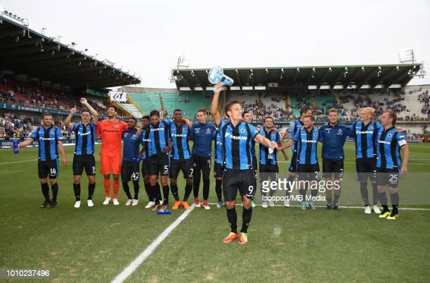 Jelle Vossen celebrates after winning the Jupiler Pro League match between Club Brugge and KAS Eupen at Jan Breydel Stadium on July 29 2018 in Brugge...