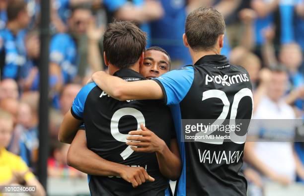 Jelle Vossen celebrates with Arnaut Danjuma and Hans Vanaken after scoring a goal during the Jupiler Pro League match between Club Brugge and KAS...