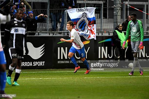 Jelle Vossen forward of Club Brugge celebrates scoring a goal pictured during Croky cup 1/8 F match between KASEupen and Club Brugge KV on November...