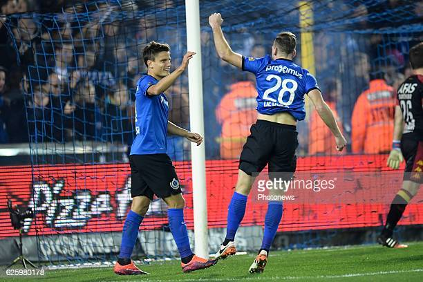Jelle Vossen forward of Club Brugge celebrates scoring a goal with teammate Laurens De Bock defender of Club Brugge during the Jupiler Pro League...