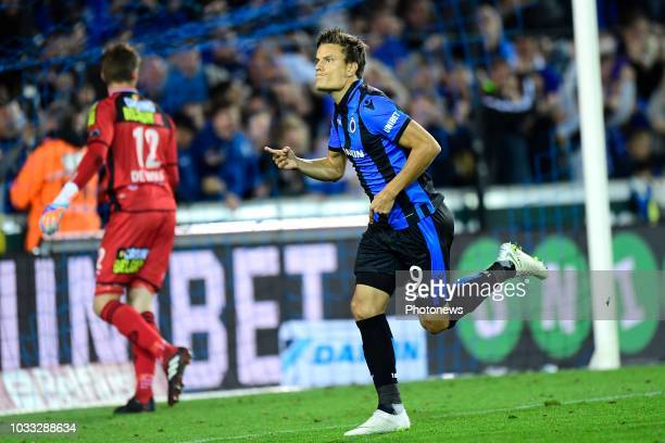 Jelle Vossen forward of Club Brugge celebrates scoring a penalty during the Jupiler Pro League match between Club Brugge and KSC Lokeren OV at the...
