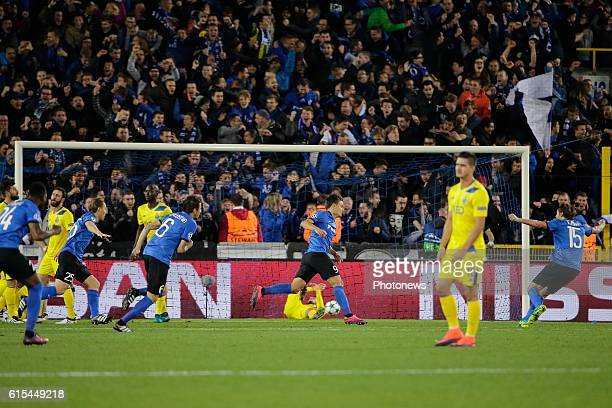 Jelle Vossen forward of Club Brugge celebrates scoring the opening goal pictured during the UEFA Champions League Group G stage match between Club...