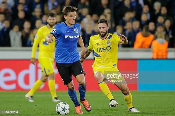 Jelle Vossen forward of Club Brugge in action with Miguel Layún of FC Porto pictured during the UEFA Champions League Group G stage match between...
