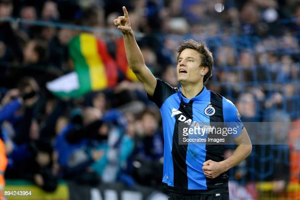 Jelle Vossen of Club Brugge celebrates 40 during the Belgium Pro League match between Club Brugge v Anderlecht at the Jan Breydel Stadium on December...